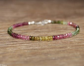 Watermelon Tourmaline Bracelet, Watermelon Tourmaline Jewelry, Ombre, Gemstone Jewelry, October Birthstone, Pink, Green, Ombre