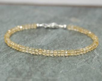Citrine Bracelet, Citrine Jewelry, November Birthstone, Beaded, Layering Bracelet, Gemstone Jewelry