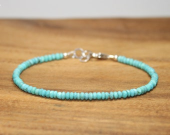 Sleeping Beauty Turquoise Bracelet, Beaded, Stacking, Sleeping Beauty Turquoise Jewelry, December Birthstone, Gemstone Jewelry