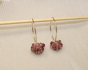 Pink Tourmaline Earrings, Pink Tourmaline Jewelry, Cluster Gemstone Earrings, October Birthstone