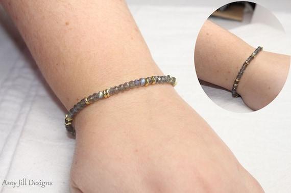 Flashy labradorite and brass layering necklace