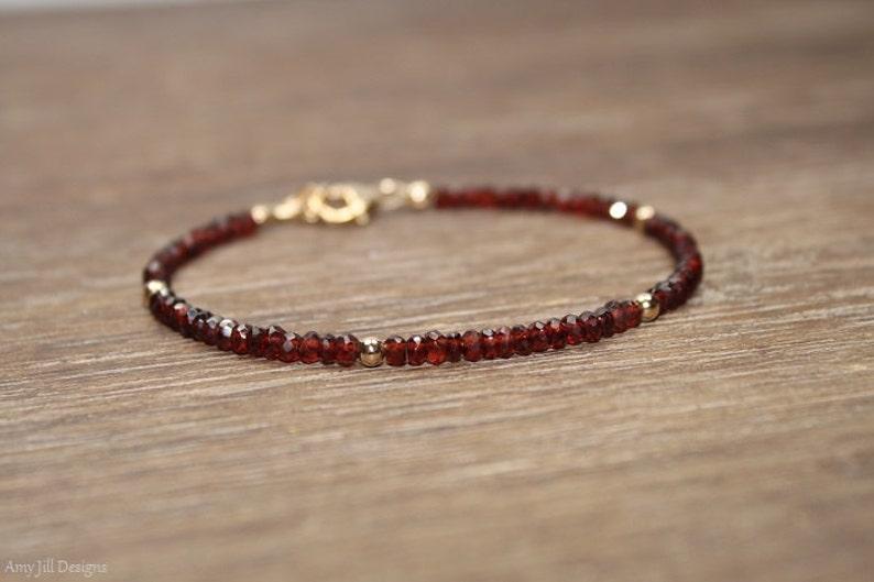 Garnet Bracelet Garnet Jewelry January Birthstone Gold image 1