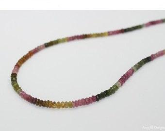Watermelon Tourmaline Necklace, Watermelon Tourmaline Jewelry, Beaded, Shaded, Ombre Jewelry, Gemstone Jewelry