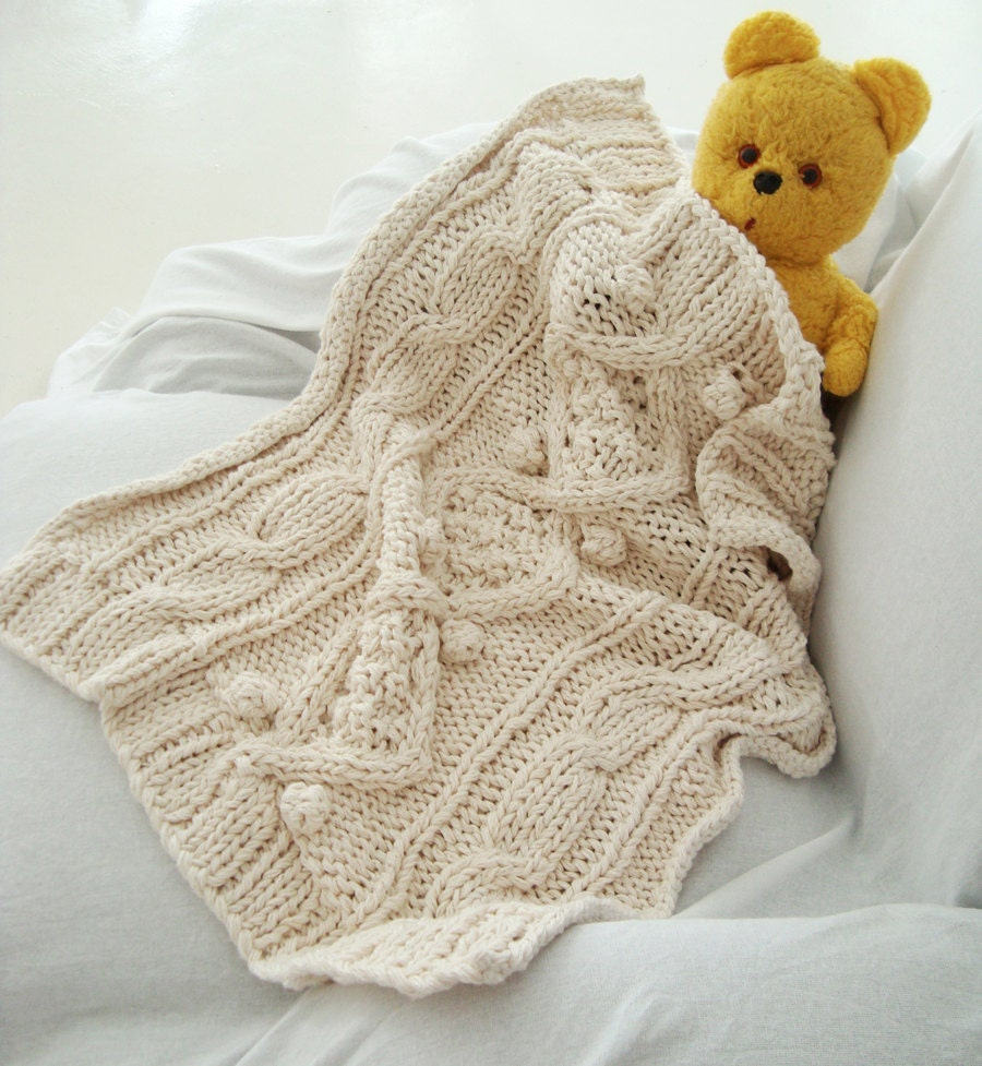 0b573502c7 KNITTING PATTERN for cotton chunky cable knit baby blanket