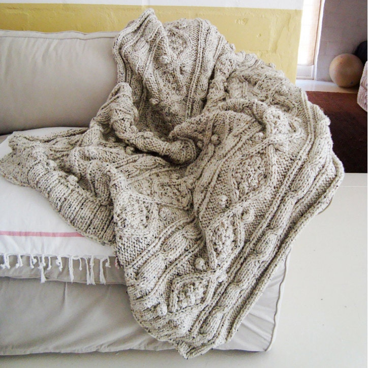 Knitting Pattern For Chunky Cable Knit Throw Etsy