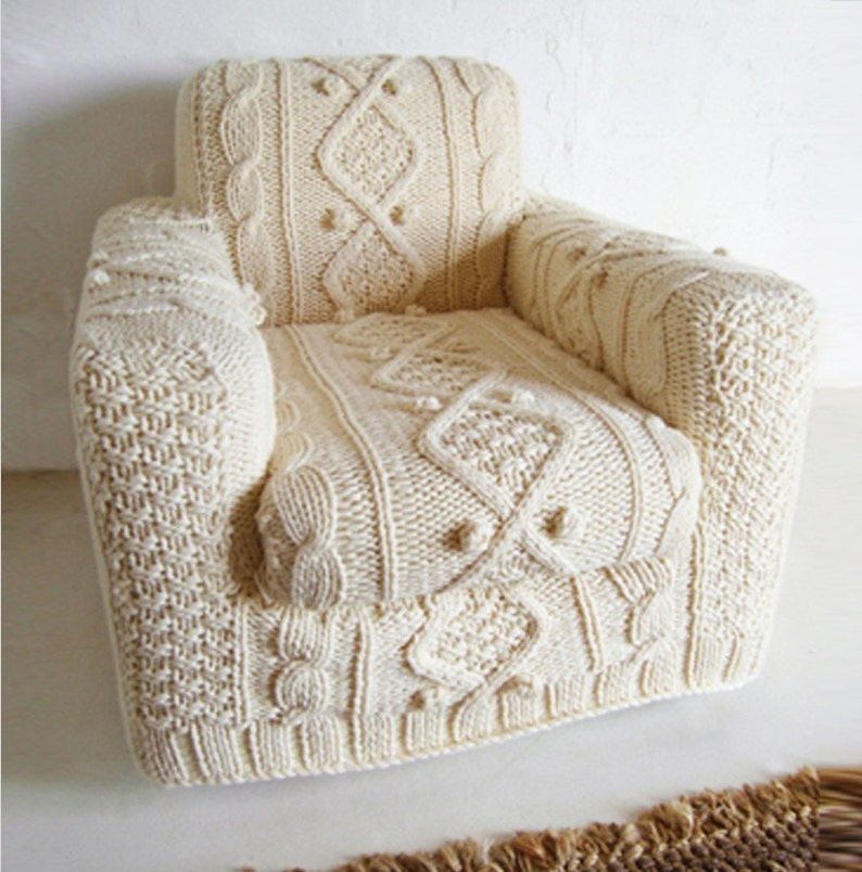 hand knitted cream aran armchair slip cover image 0