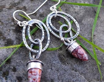 Ocean Jasper earrings   Silver ring earrings   stone bullet earrings   Natural stone earrings   Artisan metalwork   Pink jasper