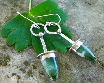Ocean Jasper earrings   stone point earrings   Natural stone earrings   sterling silver metalwork   Green gemstone drop earrings   Artisan