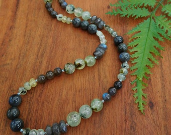 Labradorite and prehnite gemstone necklace - beaded strung necklace - 24 inch