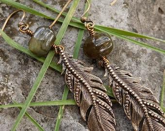 Labradorite feather earrings   bronze stone earrings   boho earrings   green labradorite earrings   dangle earrings   brass feather