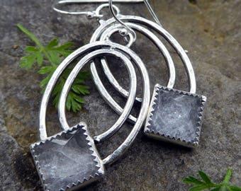Crystal hoop earrings   crystal pyramid earrings   Quartz crystal earrings   boho earrings   crystal point   Sterling silver earrings