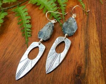 Kyanite Earrings Stainless Steel Dagger Hoop Earrings Gifts for Her Long Boho Earrings Kyanite Dagger Earrings Throat Chakra Jewelry