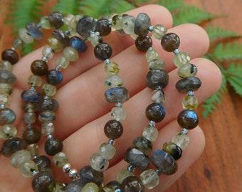 Prehnite and labradorite beaded necklace - 20 inch necklace