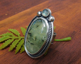 Prehnite and labradorite ring - size 8 - sterling silver - hand crafted artisan made -- large stone boho ring