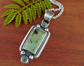 Prehnite and labradorite rectangle necklace - sterling silver - artisan made - bohemian style