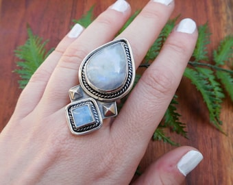 Moostone statement ring - size 7.5 - sterling silver - hand crafted artisan made -- large stone boho ring
