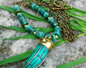 Tibetan turquoise necklace | Turquoise tusk necklace | Boho necklace | Tibetan horn necklace | Strung necklace | Long layering necklace