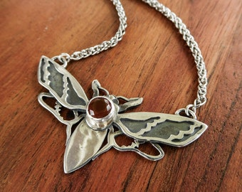 Flying moth necklace - sterling silver and fire opal necklace - insect bug nature jewelry