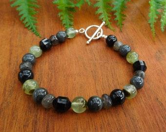Labradorite Prehnite and Black tourmaline beaded bracelet- Mens, womans, unisex
