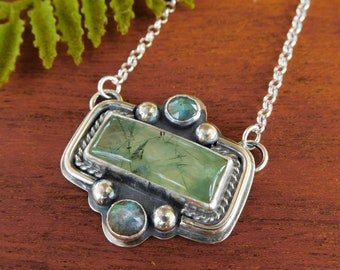 Prehnite and labradorite necklace - sterling silver - artisan made