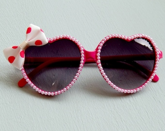 Pink Heart Sunglasses with Pearls and Polka Dot Bow, Rockabilly Sunglasses, Pinup Sunglasses, Retro Sunglasses, Cute Sunglasses, WomensF