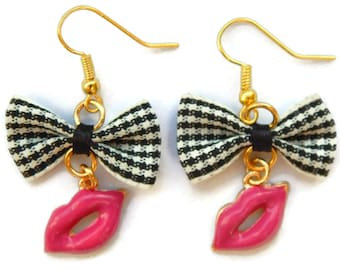 Pink Lips Earrings with Black and White Gingham Bows, Rockabilly, Retro, Pinup, Burlesque, Kitsch, Scene