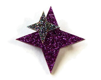 Purple Glitter Retro Stars Brooch, Vintage Acrylic Pin, Pin up, Rockabilly, Atomic 50s Style, Laser Cut