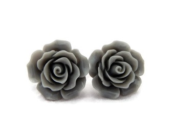 Large Gray Rose Earrings, Vintage Resin Flower Studs, Rockabilly Retro Pin Up Floral Hypoallergenic Stud Earrings, Large Earrings Women