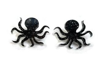 Black Glitter Octopus Earrings - Nautical, Ocean, Sea Creature - Women's octopus studs - Laser Cut Acrylic Nickel free earrings