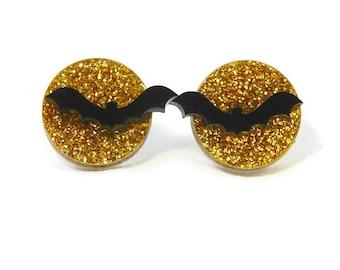 Bat and Moon Glitter Acrylic Earrings, Rockabilly Pinup Creepy Cute Vintage Laser Cut Halloween Jewelry Earrings, Spooky Full Moon Black Bat