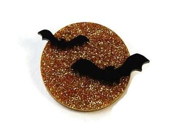 Bat and Moon Glitter Acrylic Brooch, Vintage Laser Cut Halloween Pin, Rockabilly Pinup Creepy Cute Bat Brooch, Spooky Full Moon Black Bats