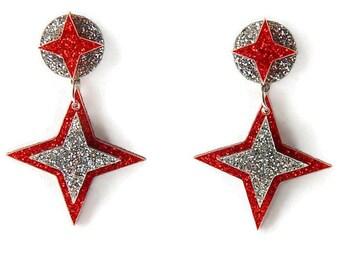 Retro Star Dangle Earrings, Red And Silver Glitter Pin Up Hypoallergenic Acrylic Earrings, Rockabilly Vintage Style Laser Cut Drop Earrings
