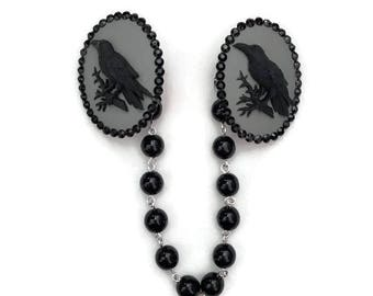Black Crow Cameo Sweater Clip - Gray and Black Raven and Black Pearls