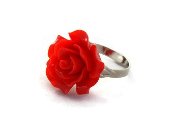 Large Red Rose Adjustable Ring - Resin Flower Statement Ring - Vintage Style, Pinup, Rockabilly, Retro