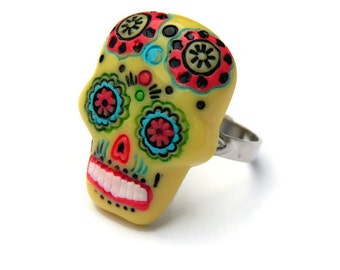 Yellow Sugar Skull Ring - Day of the Dead, Pinup, Rockabilly, Dia de los Muertos