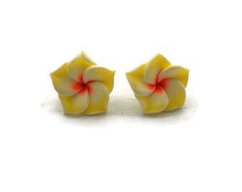 Yellow Hawaiian Flower Earrings - Plumeria - Tropical Rockabilly, Retro, Tiki, Pinup - Nickel Free