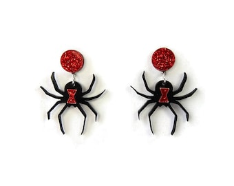 Black Widow Earrings - Creepy Cute Spooky Halloween Spider Earrings - Laser Cut Acrylic Women's Costume Earrings