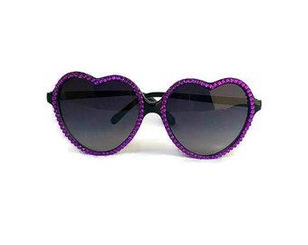 Purple Rhinestone Heart Shaped Sunglasses, Black Heart Sunglasses, Rhinestone Sunglasses, Retro Sunglasses, Cute