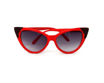 Red Cat Eye Sunglasses with Black Rhinestones, Pinup, Rockabilly, Retro, 50s, 60s, Vintage Style