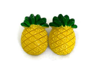 Large Pineapple Earrings - Yellow and Green Resin - Tropical, Summer, Fruity Jewelry