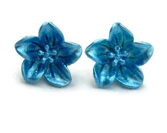 Blue Lily Flower Earrings  - Retro Resin jewelry - Rockabilly, Pinup, Vintage Style