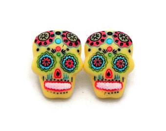 Large Yellow Sugar Skull Earrings - Rockabilly Day of the Dead Earrings