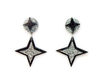 Black and Silver Star Earrings, Retro Acrylic Earrings Dangle, Rockabilly Earrings Handmade, 1950s Atomic Starburst Earrings, Nickel Free