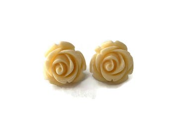 Cream Rose Earrings, Medium Size, Resin Flower Studs, Vintage Style, Retro, Rockabilly, Pinup, Floral, Feminine
