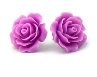 Large Purple Rose Earrings - Big Fashion earrings - Lilac, Lavender Flower