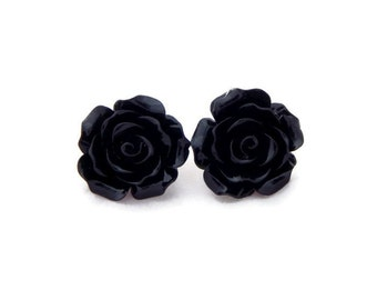 Large Black Rose Earrings - Big Fashion earrings - Rockabilly Large Flower Jewelry - Black Flower Stud Earrings - Post or Clip On