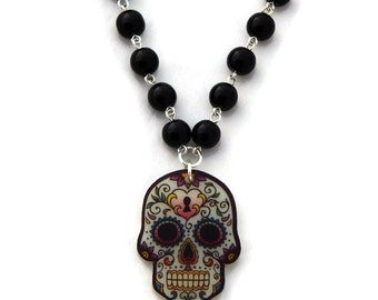 Sugar Skull Necklace, Acrylic and Black Faux Pearls, Rockabilly, Pinup, Day of the Dead, Dia de los Muertos, Women, Girls