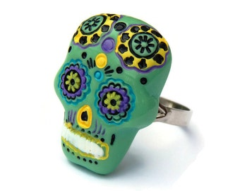 Green Sugar Skull Ring - Day of the Dead, Pinup, Rockabilly, Dia de los Muertos