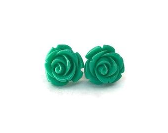 Green Rose Earrings, Medium Size, Resin Flower Studs, Vintage Style, Retro, Rockabilly, Pinup, Floral, Feminine
