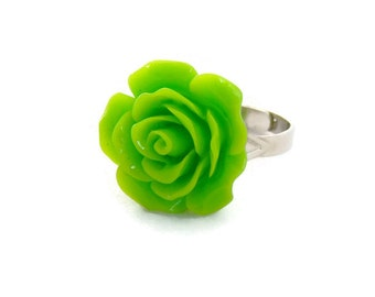 Lime Green Large Rose Ring - Pinup, Rockabilly, Retro